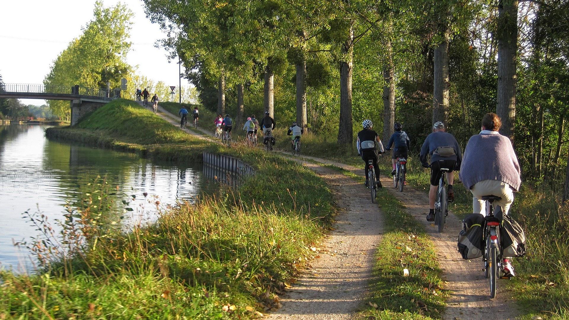 Cycliste sur le canal de Bourgogne