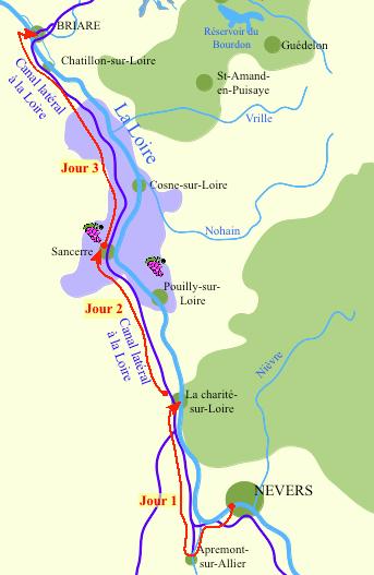 Carte Canal latéral à la Loire