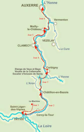 Carte Canal du Nivernais à vélo