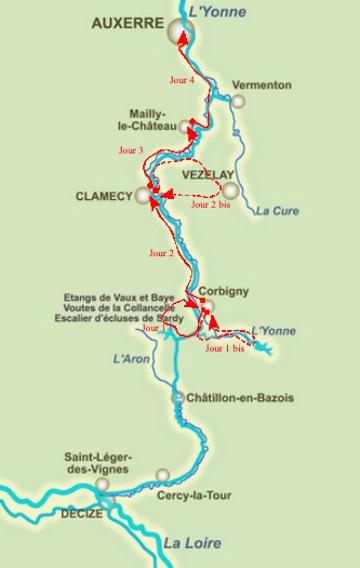 Carte Canal du Nivernais