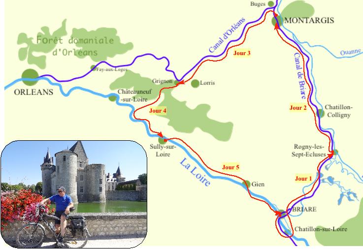 Carte triangle d'eau du Loiret