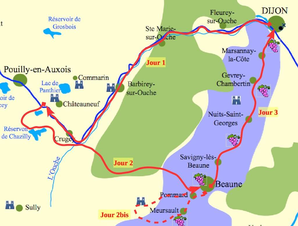 Carte Canal et grands Crus de Bourgogne