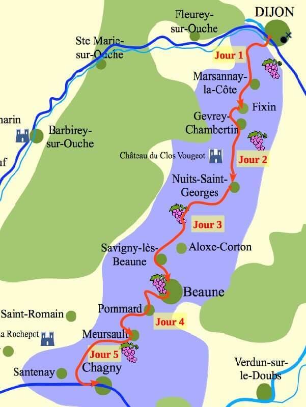 Carte Chateau Bourgogne.Le Chemin Des Grands Crus De Bourgogne A Pied 5 Jours
